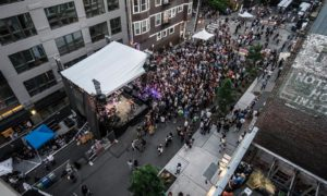 The view from the VVIP @ Cloud Room balcony during CHBP 2016, looking down onto Vera Stage.