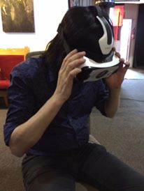 Posie Ken Stringfellow checks out VR for the very first time on our set